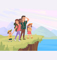 fun family walking rest at nature vector image