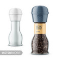 glass pepper mill with label and sample design vector image vector image