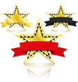 golden stars set with diamonds set on white vector image vector image