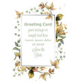 greeting card frame with autumn leaves vector image