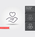 hand holding heart symbol line icon with shadow vector image vector image