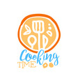 handmade abstract cooking logo template with vector image