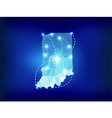 Indiana state map polygonal with spot lights vector image vector image