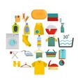 laundry service icons set flat style vector image