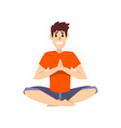 man sitting in salutation lotus pose young man vector image