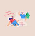 merry christmas congratulation via video call vector image