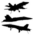 military jets silhouettes vector image vector image