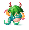 monster with a watermelon on his head vector image vector image