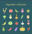 pastel color silhoette isolated vegetable icon set vector image