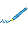 Pen writes hello word vector image vector image