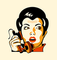 retro phone woman vector image vector image