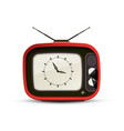 retro tv with analog clock symbol on screen design vector image