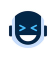 robot face icon smiling face laugh emotion robotic vector image vector image