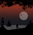 romantic couple on beach in beautiful seascape vector image vector image