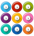 Round icons with clocks vector image vector image