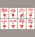 santa claus stickers set cartoon characters grunge vector image vector image