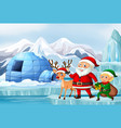 scene with santa and reindeer vector image vector image