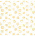 seamless pattern with yellow beekeeping vector image vector image