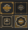 set 4 old cards western style vector image vector image