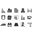 Silhouette architecture and construction icons vector image vector image