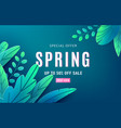 spring sale background banner with fantasy leaves vector image