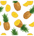 summer pattern with pineapples seamless texture vector image vector image