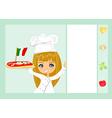 sweet girl serving pizza vector image