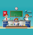 three boy doing experiment in the lab vector image vector image
