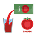 Tomato juice Pour tomato juice into glass vector image vector image