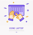 top view of using laptop hands on touchpad vector image