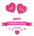 Valentines Day and pink heart isolated on white vector image vector image