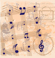 vintage background with musical notes vector image