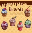 waffle poster with dessert cupcakes vector image vector image