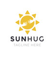 yellow sun hug logo for company business creative vector image vector image