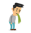 young man vomiting puking vector image vector image