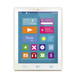 White tablet computer with color icons on display vector image