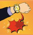 wrist watch show now pop art style vector image