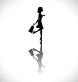 Shopping girl silhouette vector image