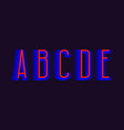 a b c d e red blue layered letters urban vector image vector image