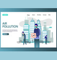 air pollution website landing page design vector image vector image