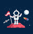 astronaut in space suit standing on moon with flag vector image