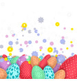 background with colorful easter eggs and flowers vector image vector image