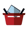 basket buying online laptop color shadow vector image