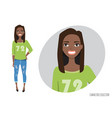 black african american woman in a casual cloth vector image