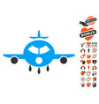 cargo aircraft icon with dating bonus vector image vector image