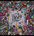 cartoon doodles disco music frame vector image