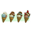 cartoon three ice cream balls in waffle cone vector image