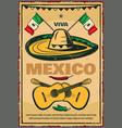 cinco de mayo mexican sketch retro poster vector image vector image