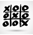 Close up of tic tac toe XO game in grunge style vector image vector image