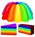 colorful cartoon rainbow jelly pudding set vector image